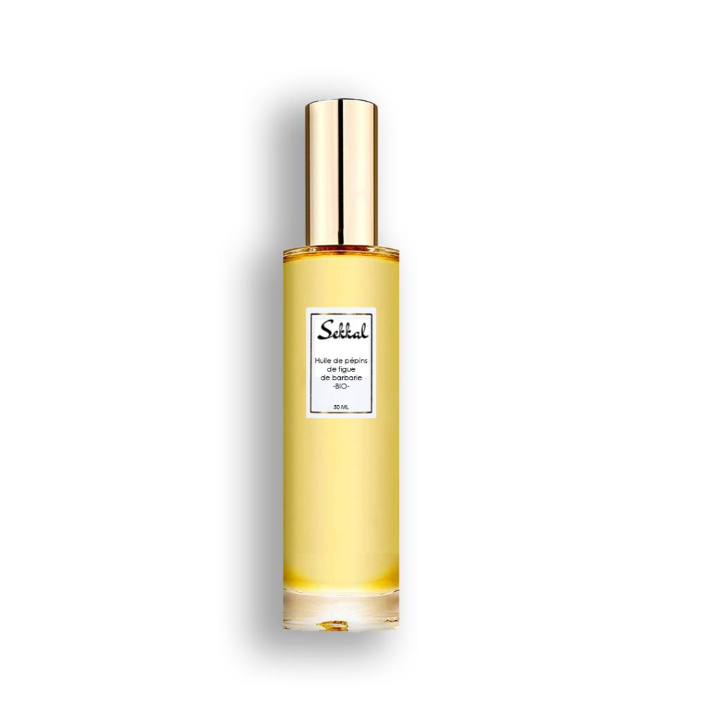 flacon de l'huile de pépins de figue de barbarie pure certifiée bio par ecocert obtenue par la première pression à froid
